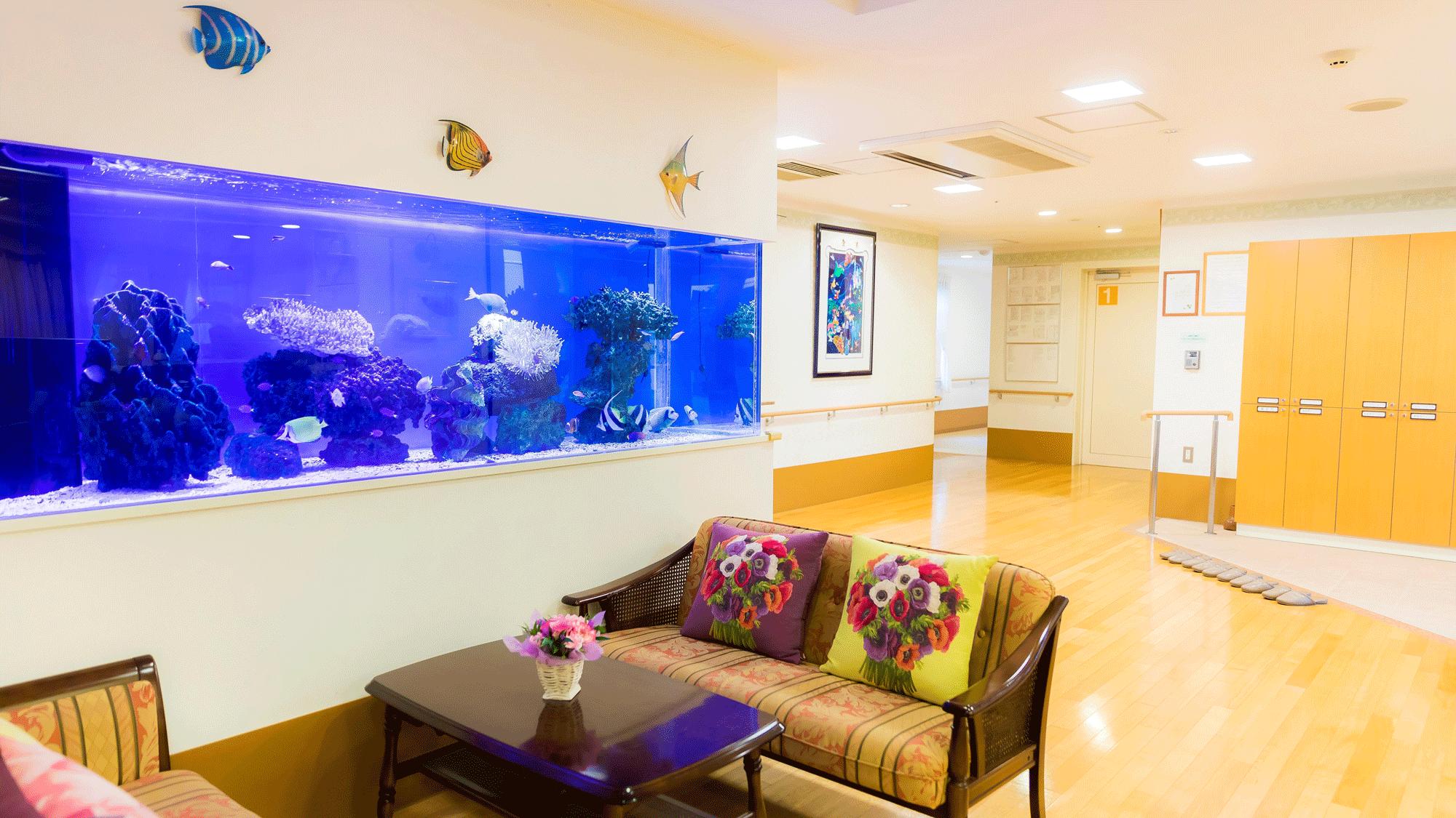 まるで水族館みたいな2.6mの大きな水槽に、ゆったりと泳ぐカラフルな海水魚には癒されます。